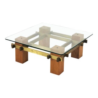 Coffee Table in Brass and Wood of the 50s, Original. For Sale