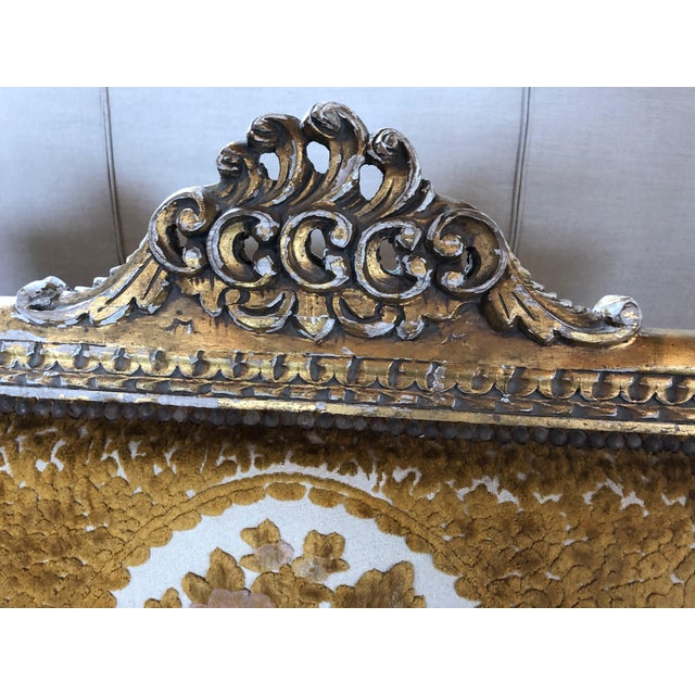 Meant for a Queen Giltwood and Cut Velvet Large French Sofa Settee For Sale - Image 4 of 12