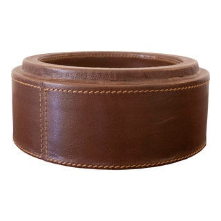 1970s Leather Vide Poche Bowl Catch All For Sale