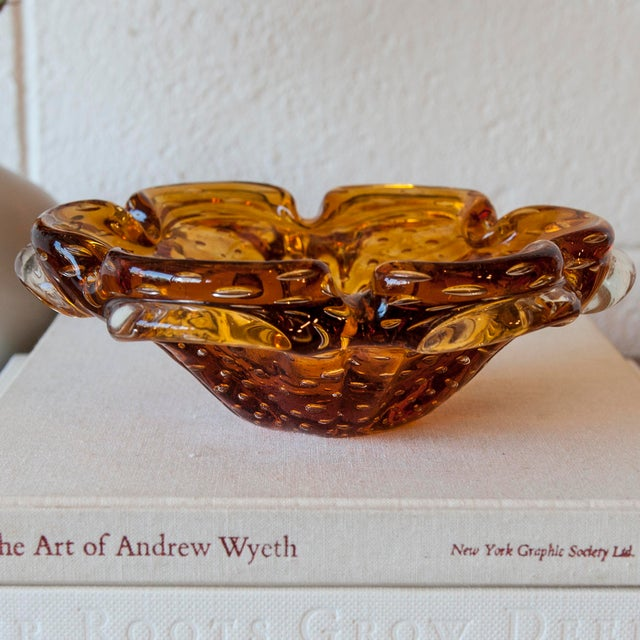 Vintage Murano Amber & Clear Glass Bubble Bowl - Image 4 of 9