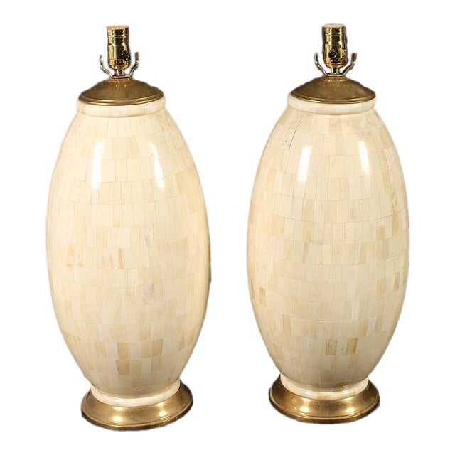 1970s Vintage Tessellated Bone Table Lamps - A Pair For Sale
