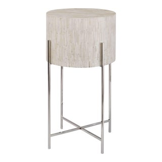 Bone Drum Table in Polished Nickel For Sale