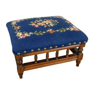 Antique Victorian Small Needlepoint Footstool For Sale