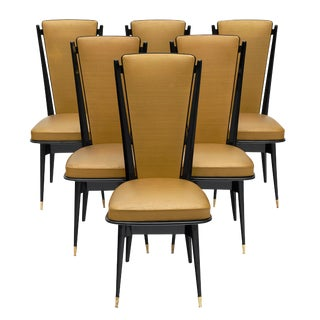 French Mid-Century Set of Dining Chairs For Sale