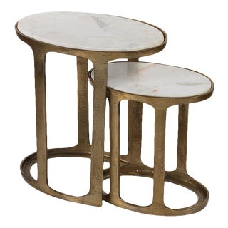 Kenneth Ludwig Chicago Nikki Oval Marble and Raw Aluminum Nesting Tables - Set of 2 For Sale