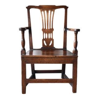 18th-Century Georgian Chippendale Oak Armchair For Sale