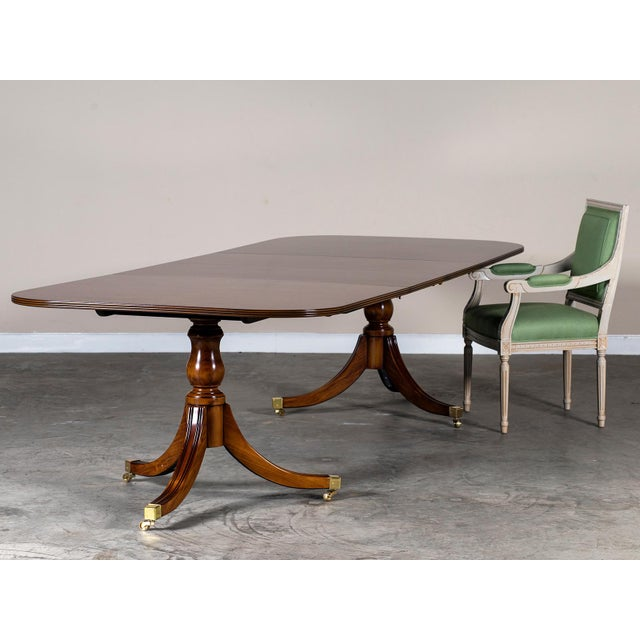 Burl Walnut Sheraton Style Double Pedestal Dining Table, Two Leaves, Hand Made in England - Image 6 of 11