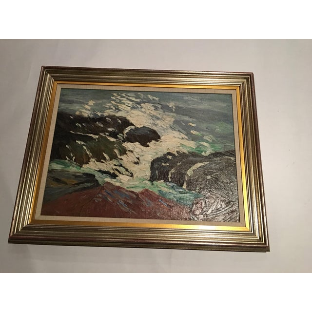 Framed Seascape Painting 'After the Blow' For Sale - Image 5 of 8