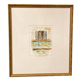 Vintage French Watercolor Ricard Aperitif Anise, Custom Framed For Sale