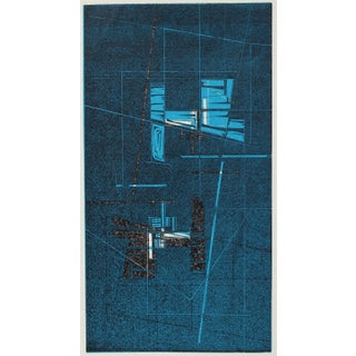 Shades of Blue Geometric Woodcut Abstract 1965 For Sale