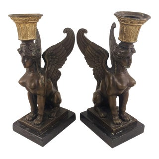 1960s Mid-Century French Empire Style Sphinx Bronze Candle Sticks - a Pair For Sale