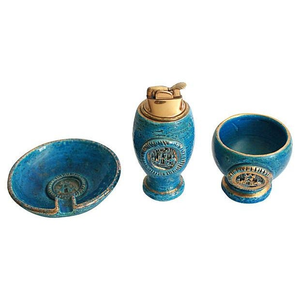 Mid-Century Italian pottery smoke set with castle motif. Set includes: table lighter, cigarette holder, and ashtray....