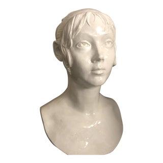 Mid Century Italian Ceramic Female Head Sculpture For Sale
