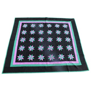 Amish Eight Point Stars Quilt, Holmes County Ohio For Sale