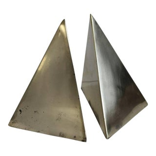 Mid-Century Brass Pyramid Bookends - A Pair