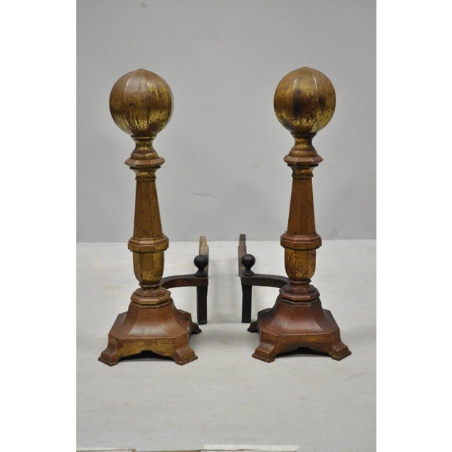 Pair of 19th Century American Federal Brass Cannonball Andirons w/ Aged Patina. Item features desirable aged patina to...