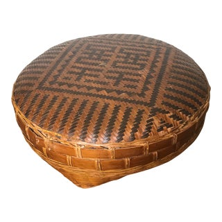 Hand Woven Two Tone Large Bamboo Chinese Storage Basket With Lid For Sale