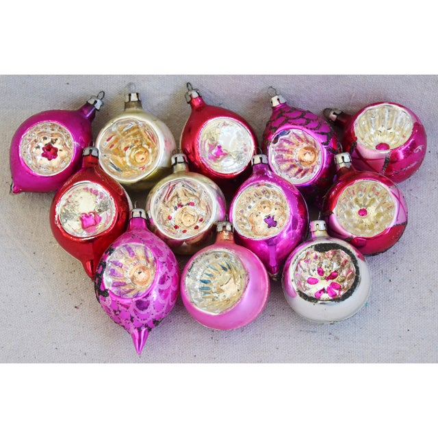 Pink & Red Vintage Colorful Christmas Tree Ornaments W/Box - Set of 12 For Sale - Image 4 of 10
