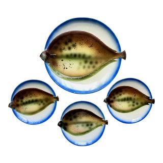 Mid-Century Fish Platter & 3 Fish Plates For Sale