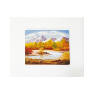 Vintage Oil Painting of Fall Forest and Mountains Preview
