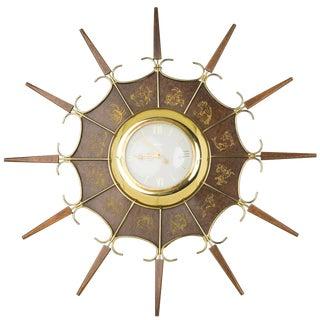United Embossed Zodiac Sunburst Clock, Circa 1950 For Sale