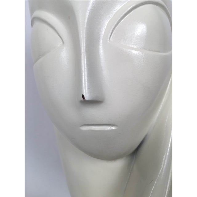 Vintage Mid-Century Alien Bust Sculpture on Lucite - Image 8 of 9