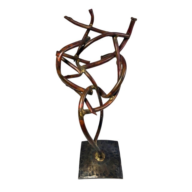 1950s Vintage Abstract Copper Signed Sculpture For Sale