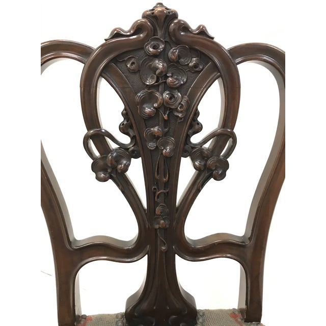 Wood 19th Century Art Nouveau Mahogany Side Desk Vanity Chair Attributed to Louis Marjorelle For Sale - Image 7 of 13