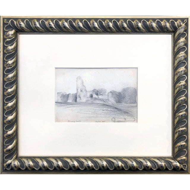 White 19th Century English Graphite Landscape Drawing of Pevensey Castle Ruins 1855 For Sale - Image 8 of 8