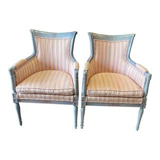 Vintage Directoire Style Polychrome Berger Armchairs- A Pair For Sale