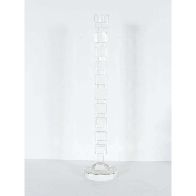 1980s Art Deco Style Geometric Cut Crystal Candleholders by Shannon For Sale - Image 5 of 9