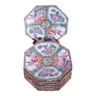 Rose Medallion Octagonal Porcelain Dessert Plates - Set of 8 For Sale