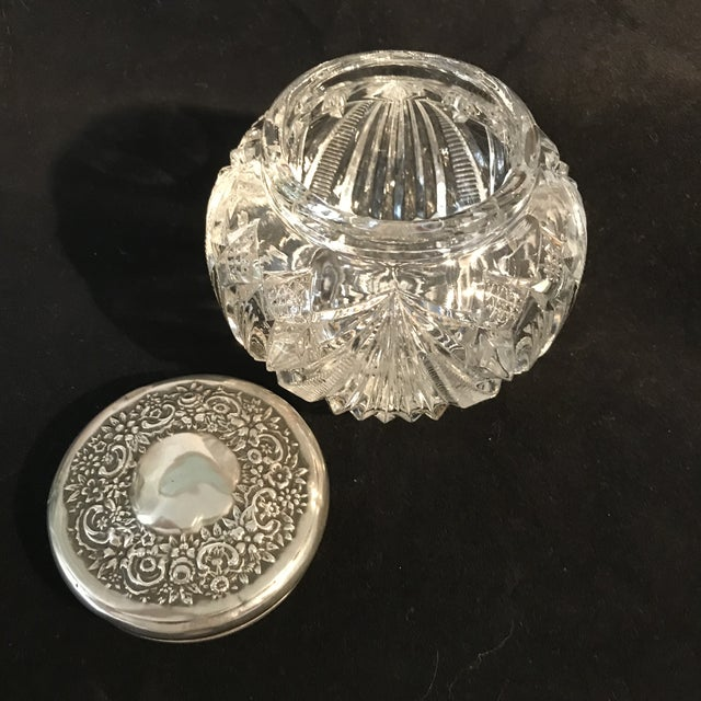 1930s Art Deco Cut Crystal Silver Lid Vanity Jar - Image 4 of 5