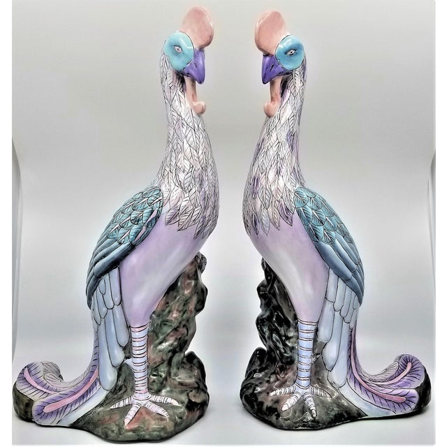 Extra-Large Chinese Porcelain Ceramic Phoenix Bird Sculptures or Figurines - a Pair For Sale - Image 13 of 13