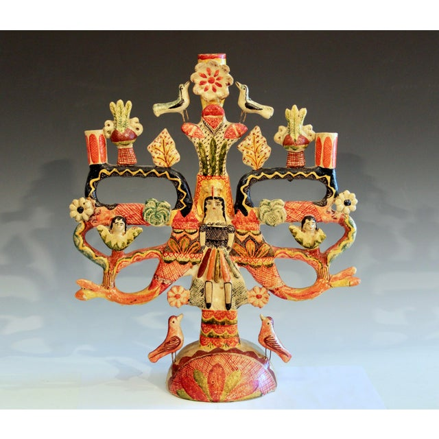 """Vintage Mexican Tree of Life pottery candelabra from the Aurelio Flores family, circa the 1950s. 18"""" high, 16"""" wide...."""