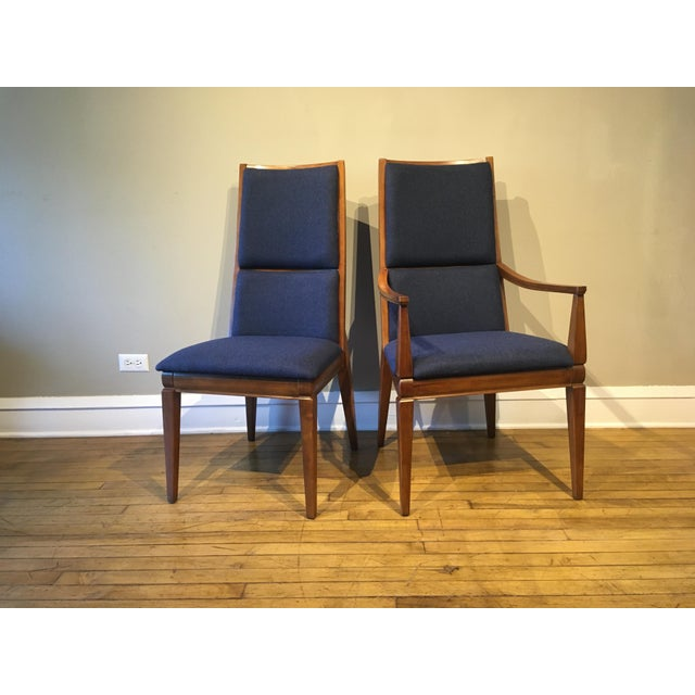 Set of Six Walnut Kroehler Tall Back Dining Chairs with Newly Upholstered in Navy Blue Wool Fabric. Set Includes Two...
