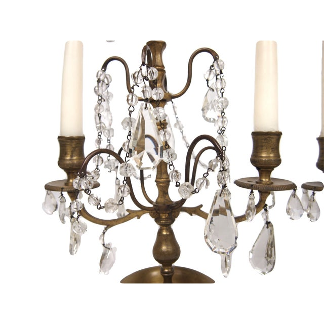 French French Bronze & Crystal Two Light Candelabra - A Pair For Sale - Image 3 of 4