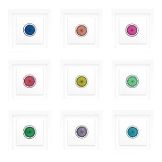 Natasha Mistry Framed Minimalist Geometric Ink Drawings - Set of 9 For Sale