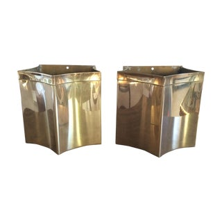 Vintage Brass Planters - A Pair