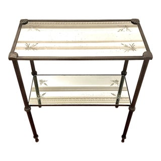 Regency Style Metal and Mirror Etagere Side Table For Sale