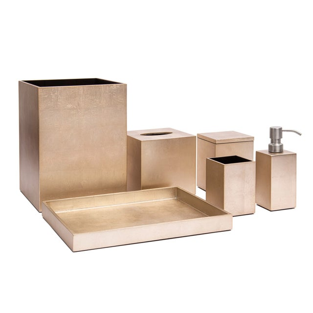 Modern Silver Leaf Bathroom Tray, Champagne For Sale - Image 3 of 4