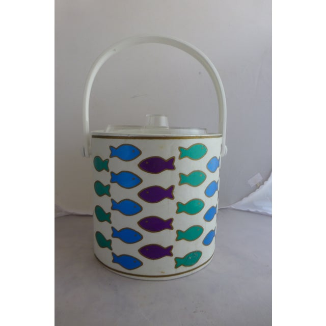 Mid-Century Ice Bucket With Colorful Fish - Image 2 of 8