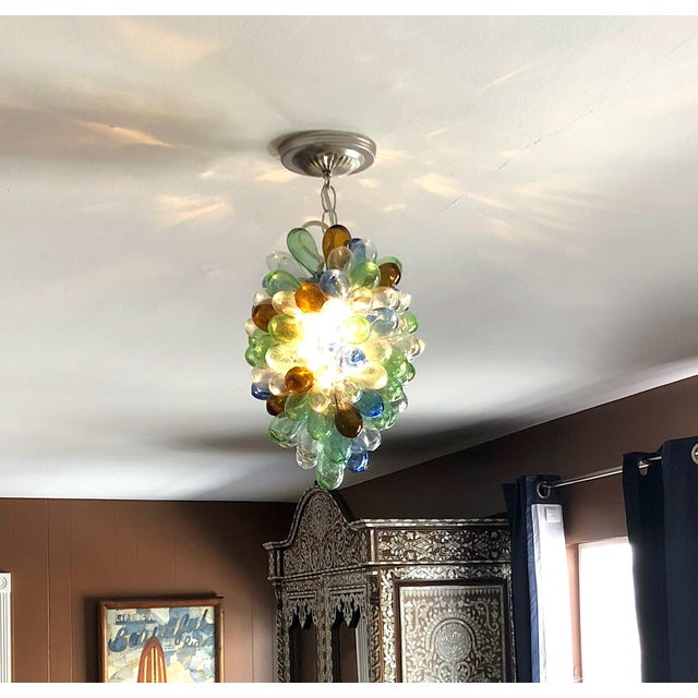 2010s Colorful Balloon Shape Handblown Glass Light Fixture For Sale - Image 5 of 9