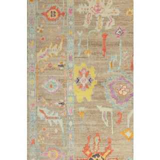 Colorful Contemporary Turkish Oushak Rug, 12'7'' X 15'10'' For Sale