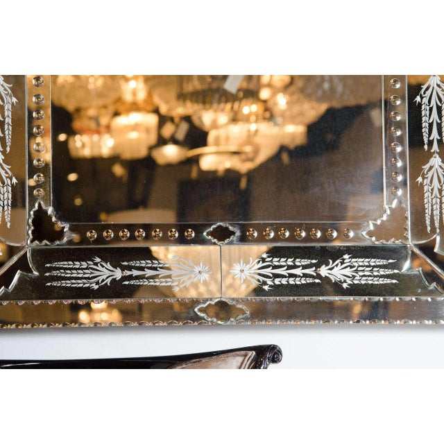 Contemporary Exquisite Venetian Style Mirror with Stylized Foliage Detailing For Sale - Image 3 of 7