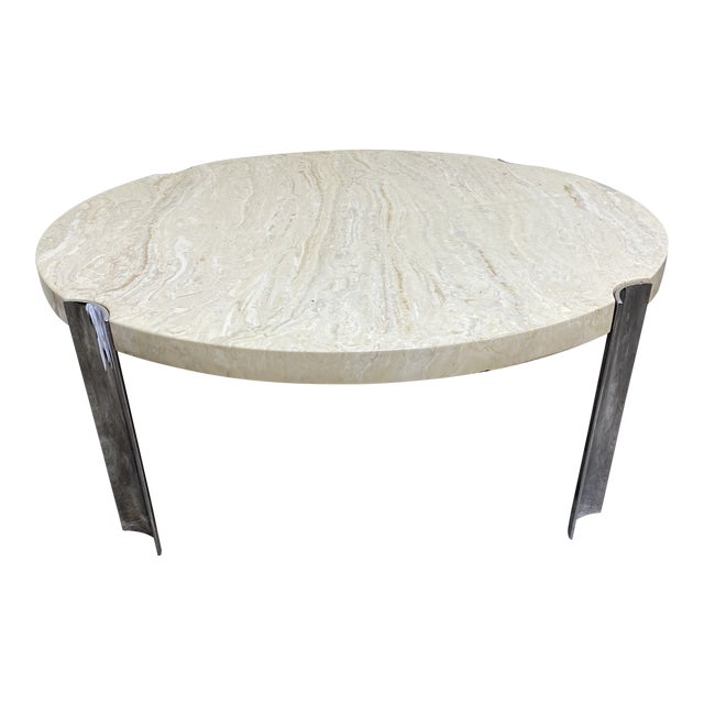Mid Century Chrome & Floating Marble Coffee Table For Sale