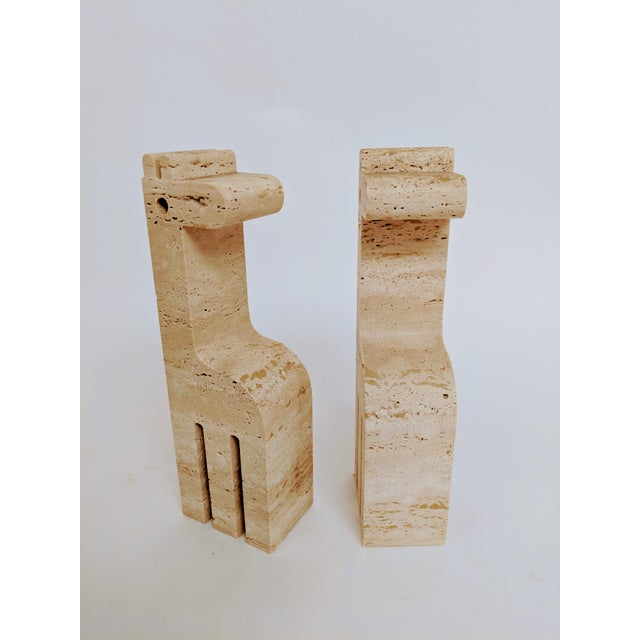 Fratelli Mannelli Travertine Giraffe Bookends - A Pair - Image 5 of 7