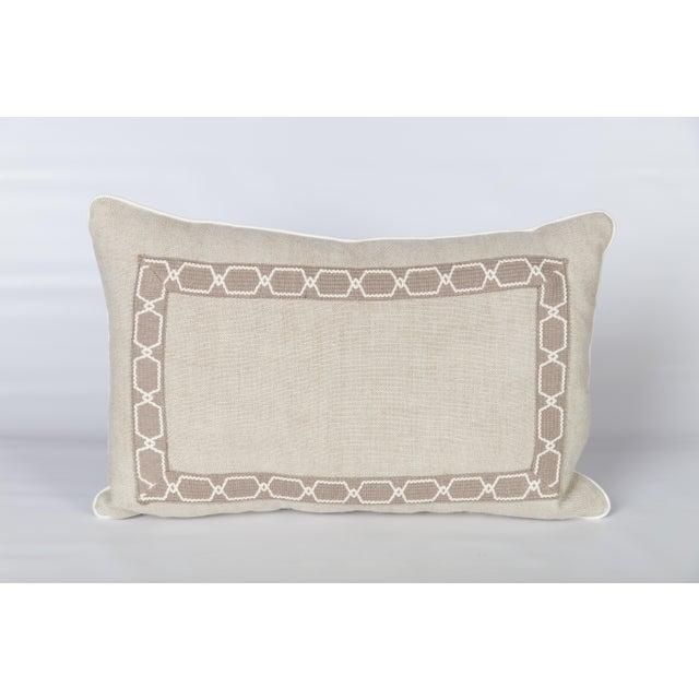 Oatmeal Linen Fretwork Lumbar Pillow For Sale In Atlanta - Image 6 of 6