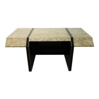 1980s Maitland Smith Tessellated Stone and Brass Sculptural Desk For Sale