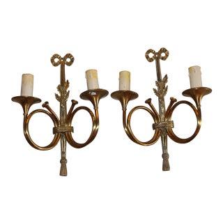 """1950s Maison Bagues """"Curled Horns"""" Dore Bronze Sconces - a Pair For Sale"""